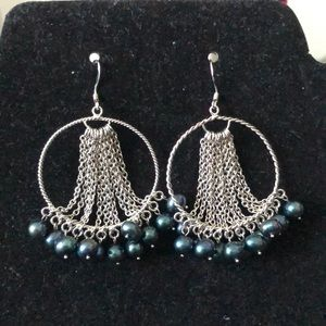 Stunning Pair 925 Silver Earrings With Pearls